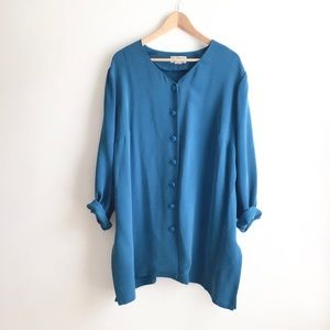Vintage 3for50 Silk Tunic Button Up Blouse